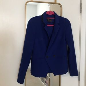 Madewell Blue Ponte Double Breasted Blazer